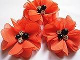 YYCRAFT 20 Stück Chiffon Blumen mit Strass und Perlen Hochzeit Dekoration/Haar Accessoire Handwerk/Nähen Craft(Orange,5cm)