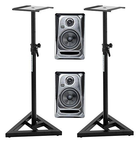 "2 Stück KRK ROKIT RP5 G3 ES aktive Studio Monitore (Paar) SET mit Stativen (2-Wege-System, 100 Watt, 5"" Woofer + 1"" Tweeter, inkl. höhenverstellbare Stative) silber"