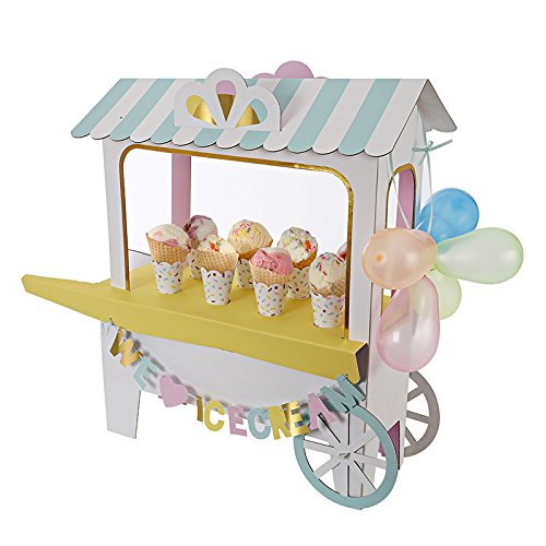 Ice cream cart mesa soporte para tartas Un gran pantalla para una fiesta de verano, este soporte de helado pieza central es con estilo como un carrito de helados y viene con una gran cantidad de accesorios incluyendo tradicional guirnalda de globos, ...