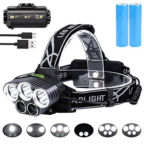 flintronic Lampada Frontale LED, Torcia Frontale Zoomable 6 Modalità 5 LED Ricaricabile Regolabile Impermeabile Lampada Frontale per Escursioni, Campeggio,Ciclismo,Corsa, Speleologia, Pesca.