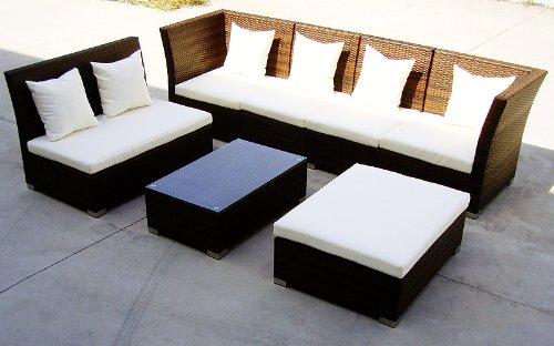 Baidani Gartenmöbel-Sets 10d00004.00001 Designer Lounge-Garnitur Thunder, 4-er Sofa, 2er Sofa, 1 Hocker, Couch-Tisch mit Glasplatte, schwarz - 3