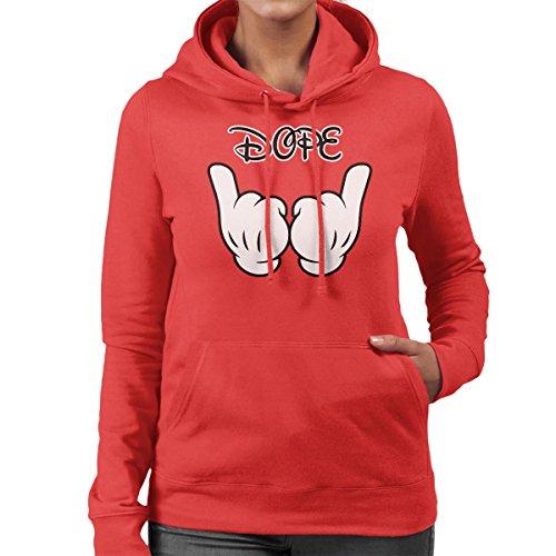 Disney Mickey Mouse Hands Dope Women's Hooded Sweatshirt Red