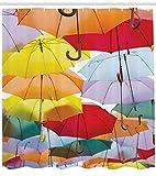 Abakuhaus Duschvorhang, Farbvolle Lebendig Regenschirme im Tageslicht Hervorscheinen Lebhaften Warm Buntes Bild Druck, Blickdicht aus Stoff mit 12 Ringen Waschbar Langhaltig Hochwertig, 175 X 200 cm