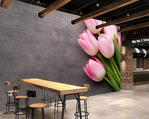 YSDECOR Benutzerdefinierte Tulpen Rosa Farbe Blumen Fototapete Wohnzimmer Schlafzimmer Esszimmer Tv Hintergrund Restaurant Bar 3D Wandgemälde -