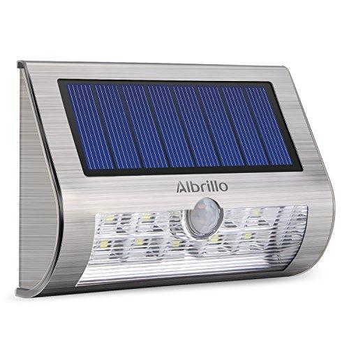 Albrillo Solarleuchte 9 helle LEDs mit Bewegungsmelder, IP65, weißes Licht