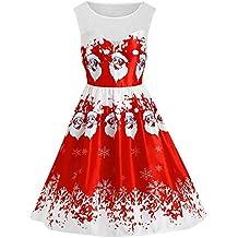 Cebbay Robe Femme Gilet,Noël,Impression de Neige,Ancien,Fête, Hiver Pullover   Pull   Hauts   T Shirt   Chemisier   Jupe