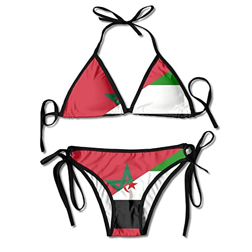 Zcfhike women's flag morocco western sahara bottom triangle bikini set swimsuit beach swimwear
