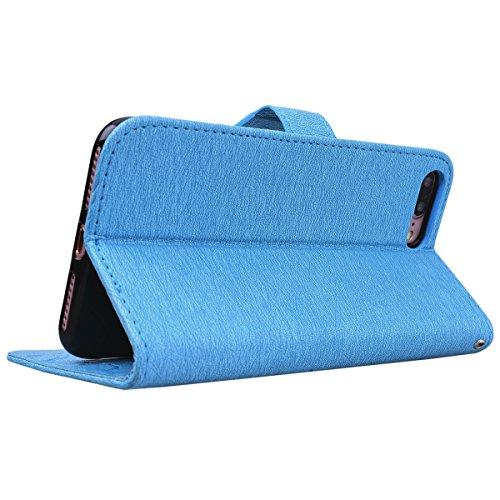 HB-Int PU Leder Hülle für iPhone 7 Plus Wallet Lederhülle mit Handschlaufe Kreditkartenfächer Standfunktion Handytasche Drucken Weinstock Schmetterling Muster Schutzhülle im Bookstyle Magnetverschluss Blau