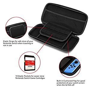 SHINE HAI Nintendo Switch Travel Case Waterproof, EVA Hard Portable Carry Case with 10 Game Cartridge Holders, Classic Black Protective Travel Case Shell Pouch, Perfect for Nintendo Switch Console & Accessories