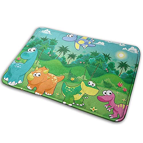 ghkfgkfgk Cartoon Forest Dinosaur Non-Slip Machine Washable Door Mat Bathroom Kitchen Rug Entrance Mats 36(L) X 24(W) Inch