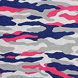 Neumann Handelsvertrieb Jersey Stoff 100% Baumwolle 165 cm Breit (100 x 165 cm, Camouflage Pink Blau Grau)