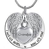 MISS.U Collar de urna de cremación de corazón para mascotas Cenizas humanas de joyería de urna Colgante conmemorativo con kit de llenado y caja de regalo (Grandpa)
