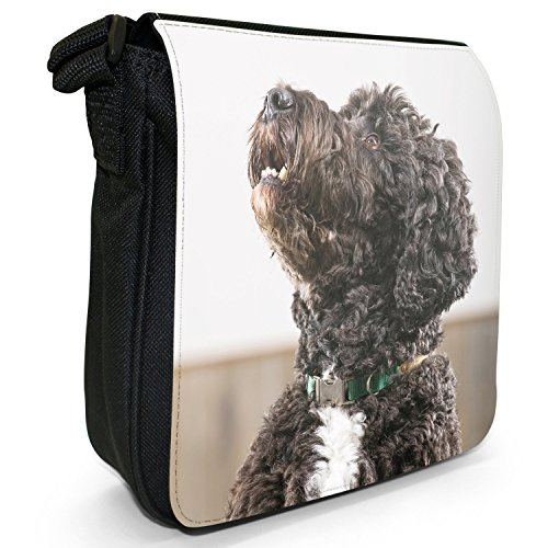 Caniche cane barboncino Barbone Borsa a spalla piccola di tela, colore: nero, taglia: S Black Fluffy Poodle Dog