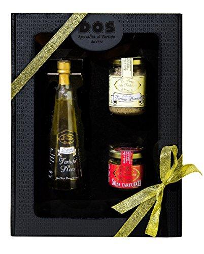 Confezione regalo natale elegante gourmet - 3 specialità al tartufo - prodotti tipici umbria - idea regalo (olio al tartufo nero, salsa al tartufo bianco, salsa tartufata)