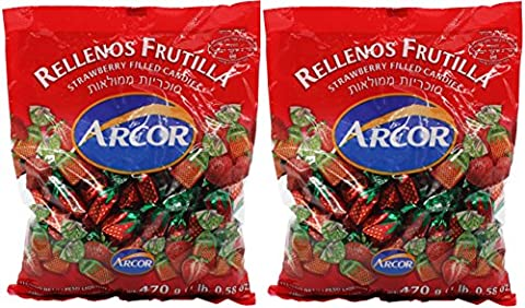 Arcor Kosher Juice Filled Strawberry Hard Candy 470-gram Bags (Pack of 2)