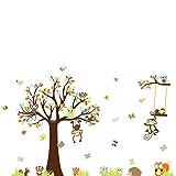 Kingmia Wallsticker Karikatur Baum Eulen Affe Kind Raum Wand AufKingmia Wallsticker Karikatur Baum Eulen Affe Kind Raum Wand Aufkleber Wand Dekoration Wasserdichte Bewegliche Starke Wand Angebrachte Wand Dekoration für Baby Oder Kind Raum für Glattes / Sauberes / Trockenes Oberflächen 30 * 90cm