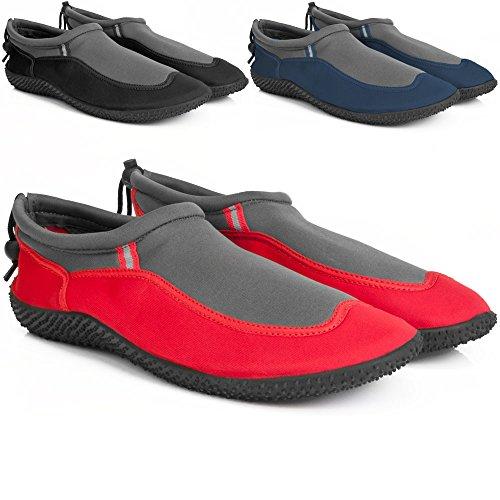 Badeschuhe Neoprenschuhe Wasserschuhe Surfschuhe Strandschuhe für Kinder, Damen und Herren von Gr. 28-46 - große Farbauswahl Rot