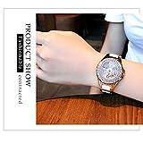 Hswt Armbanduhren Damen Analoge Quarzuhr Damenuhr Mode Damenuhr Ultradünn Keramik-Armband Wasserdicht Zifferblatt mit eingelegten Strasssteinen Dame Mode zu sehen,B