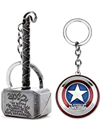 11edbebefc Mist Marvel Avengers Thor Captain America Silver Keychains and Key Rings  Combo (Pack of 2