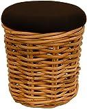 Sitzhocker / Fußhocker mit Schwarzem Polster aus Natur Rattan Braun, Hocker mit großem Staufach Sitzbox (Rund Ø40cm)