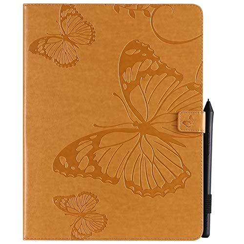 ANNFENG Mode Retro Schmetterlings-Blumenmuster PU-Leder-Mappe Anti-Kratzschutz-Schutzfall für neues iPad Pro 2018 (3. Gen), mit Halter-Kartensteckplatz-Mappe Abdeckung (Farbe : Gelb) (Gummi-anmerkung Telefon-abdeckungen 3)