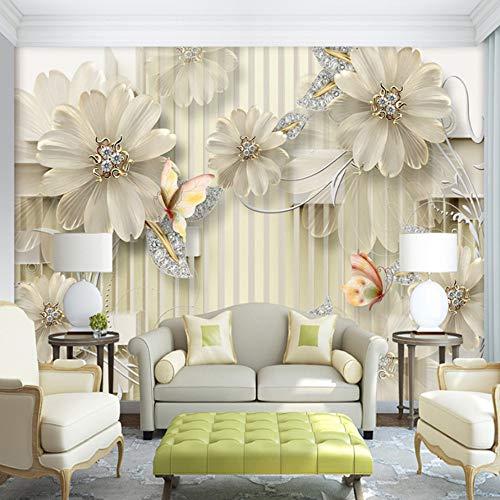 VVNASD 3D Aufkleber Wandbilder Wand Tapete Dekorationen Schmuck Diamant Blumen Modernes Wohnzimmer Sofa Hintergrund Kunst Kinder Schlafzimmer (W) 300X(H) 210Cm