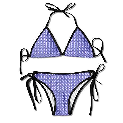 Rghkjlp Wonder Blue and White Stars Womens Triangle Top Bikini Swimsuit Sliding Swimwear