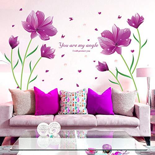 QTRYFHJI Kreative PVC Lila Lilie Blume Schmetterling Wandaufkleber Dekoration Wohnzimmer DIY Abnehmbare Schlafzimmer Mais Lilie