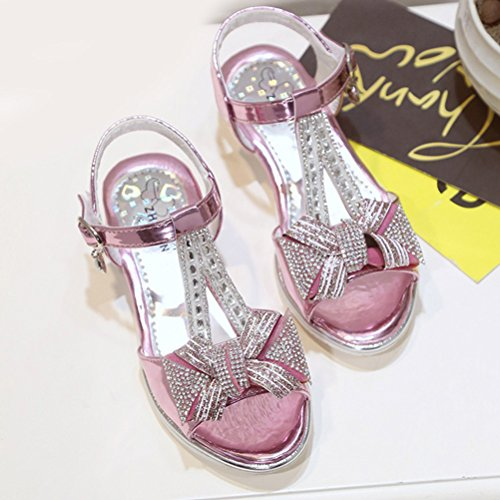 Zhhlinyuan Kids Fashion Princess Shoes Dress Up Summer Girls Casual High Heels Sandals red