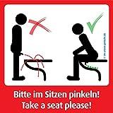 3x Bitte im Sitzen Pinkeln Aufkleber, 9,8cm x 9,8 cm. NEU. Das Original von @im-sitzen-pinkeln.de