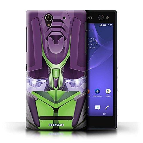 Kobalt® Imprimé Etui / Coque pour Sony Xperia C3 / Bumble-Bot Vert conception / Série Robots Opta-Bot Vert