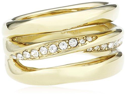 Fossil Damen-Ring Edelstahl teilvergoldet Zirkonia weiß Gr. 56 (17.8) - JF01615710-8