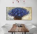 Orlco Art Ölgemälde mit blauem Kirschblütenblatt und blauem Baum, handbemalt, groß, abstrakte Kunst, Wanddekoration, Palettenmesser, strukturiert, Ölgemälde auf Leinwand, Blau, blau, 24x48inch