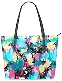 COOSUN Motif girafe PU Sac à bandoulière en cuir et sacs à main sac à main sac fourre-tout pour les femmes Moyen multicolore qDmXvAxLQ
