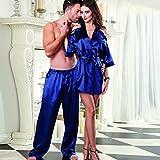 Navy blue Satin aus der Schulter Ärmel Spitze Nachthemd Unterwäsche für Frauen und Männer in Anzügen,Herren Pants l