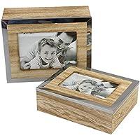 2 piezas Caja de almacenamiento con marco, cajas de madera, bordes de la cubierta cromada 25x9x20cm / 22x7x17cm, 13x18cm, 10x15cm, cofres de MDF, colores naturales