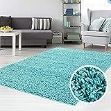 carpet city Teppich Shaggy Hochflor Langflor Flokati Einfarbig/Uni aus Polypropylen in Türkis für Wohn-Schlafzimmer, Größe: 70x140 cm