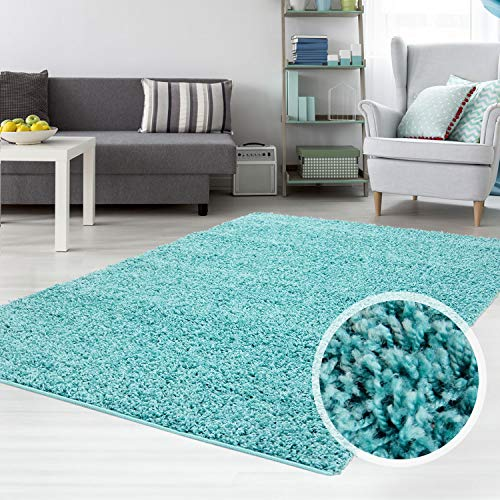carpet city Teppich Shaggy Hochflor Langflor Flokati Einfarbig/Uni aus Polypropylen in Türkis für Wohn-Schlafzimmer, Größe: 120x170 cm