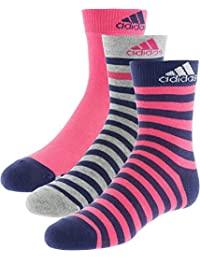 adidas Stripy Ankle 3P - Calcetines para niño, color negro / rojo / verde, talla 19-22