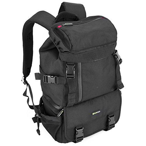 evecase-classic-dslr-slr-camera-lens-kit-water-resistant-travel-rugged-backpack-black-for-canon-niko