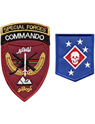 Set of 2 Sew Iron on Patches Afghanistan Special Forces MARSOC USMC Raiders Army ANASF ANA