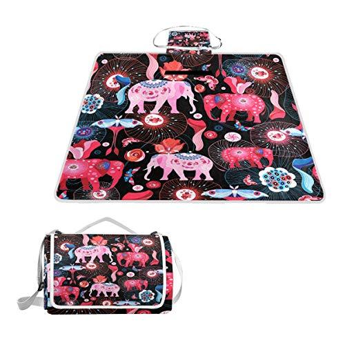 TIZORAX - Manta de Picnic con diseño de Elefantes, Impermeable, Plegable, para...