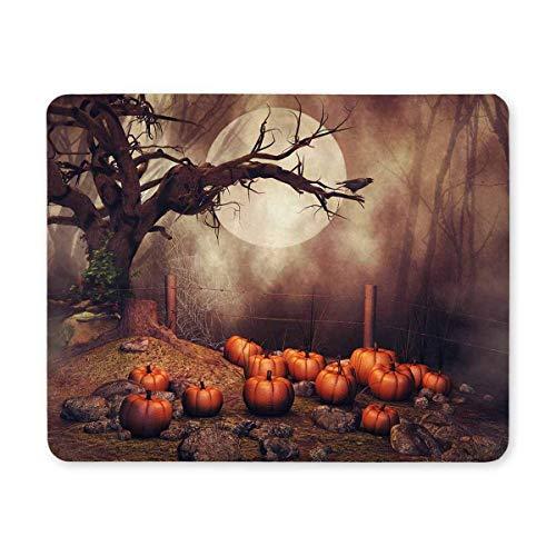 Halloween-Kürbis-Feld mit altem Baum und Rabe am nebeligen Waldrechteck-rutschfesten GummiMousepad Mausunterlagen / Mauspad-Fall-Abdeckung mit Entwürfen für Büro-Zuhause-Frauen-Mann-Angestellten