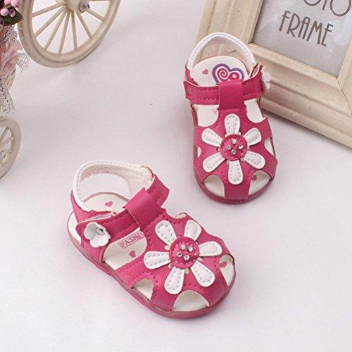 Omiky® Kleinkind Neue Sonnenblume Mädchen Sandalen beleuchtete Soft-Soled Prinzessin Schuhe Heißes Rosa