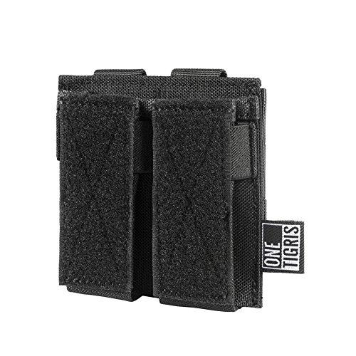 1T MOLLE Taktische Pistole Magazinetasche mit 1/2 Mag Pouch für M1911/92F/GLOCK (Schwarz-Doppel Pistole)