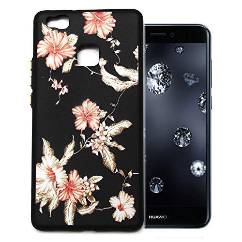 Aeeque Huawei P9 Lite Custodia Nero 3d Motivo Fiori Bianca Rosso