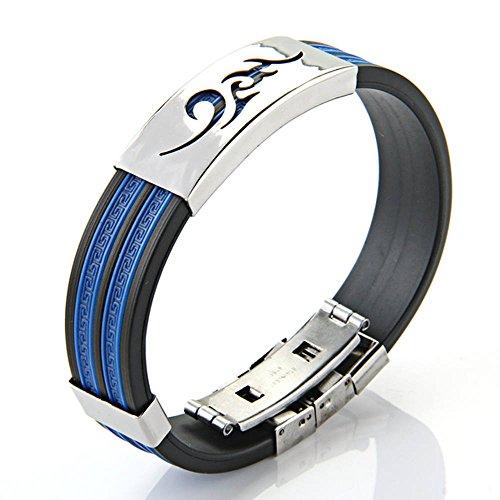 TOOGOO(R)Blaues Flamme-Muster Silikon Titan Stahlarmband fuer Jungen Maenner