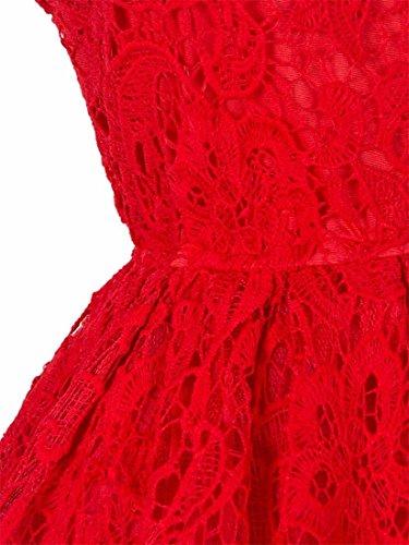 QIYUN.Z Elegante Delle Donne Del Partito Abito Da Sera In Pizzo Abito Da Principessa Tutu Maniche Floreale Rosso