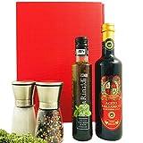 Italienische Gourmet Box | Italienisches Geschenkset gefüllt mit zwei Gewürzmühlen, Öl & Essig | Spezialitäten Geschenk für Paare