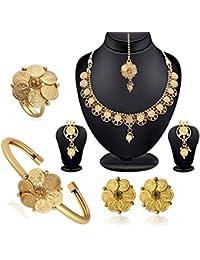 Spargz Beautiful Laxmi Coin Traditional Designer Jewellery Set Combo 533